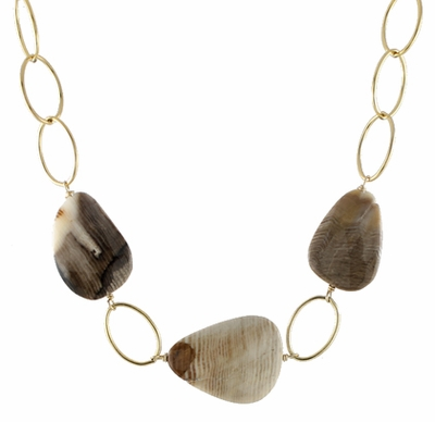 Wood Opal Loopy Necklace