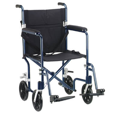 Drive Medical 19 inch Flyweight Lightweight Blue Transport Wheelchair fw19bl