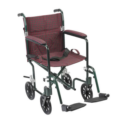 Drive Medical 19 inch Flyweight Lightweight Burgundy Transport Wheelchair fw19bg
