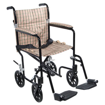 Drive Medical 19 inch Flyweight Lightweight Tan Plaid Transport Wheelchair fw19db