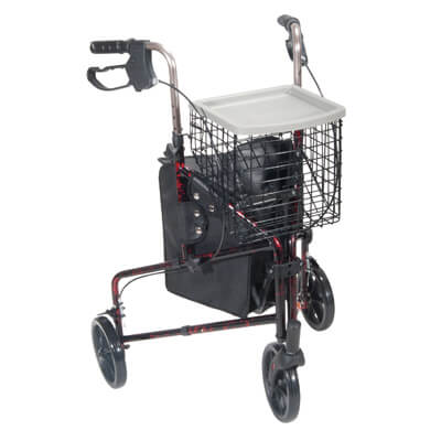 Drive Medical 3 Wheel Flame Red Rollator Walker with Basket Tray and Pouch 10289rd