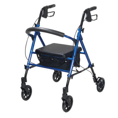 Drive Medical Adjustable Height Blue Rollator with 6 inch Wheels rtl10261bl