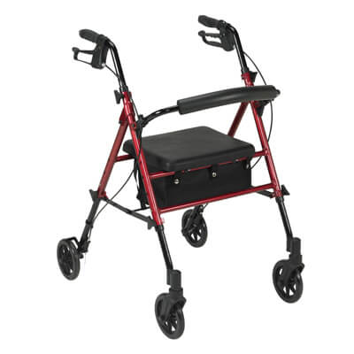 Drive Medical Adjustable Height Red Rollator with 6 inch Wheels rtl10261rd