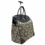 Alfa Aztec Printed Foldable Rolling Luggage Bag