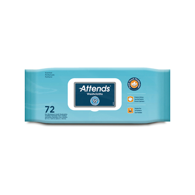 Attends Washcloths Scented 72ct, 8.7x12.6 in - WCCP1000 - 864/cs