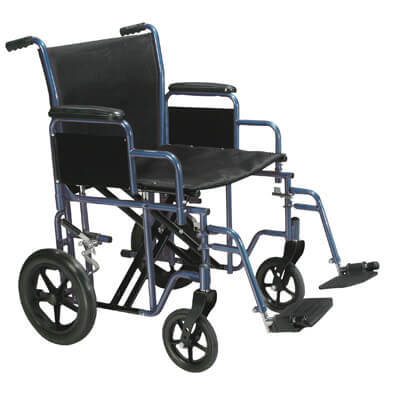Drive Medical Bariatric Heavy Duty Blue Transport Wheelchair with Swing Away Footrest btr20-b