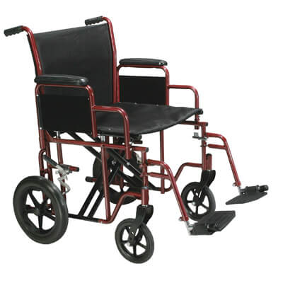 Drive Medical Bariatric Heavy Duty Red Transport Wheelchair with Swing Away Footrest btr22-r