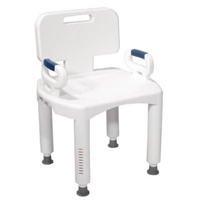 Drive Medical Bath Bench with Back and Arms rtl12505