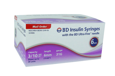 BD Ultra-Fine 31 Gauge 3/10 cc 15/64 in (6 MM) Insulin 90 ea 324906