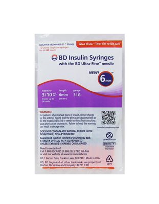 BD Ultra Fine Insulin Syringes 31 Gauge 10 pack