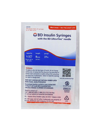 BD Ultra-Fine Insulin Syringes 31 Gauge 0.5 cc 5/16 in - 10 ea