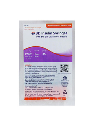 BD Ultra-Fine Insulin Syringes 31 Gauge 0.3 cc 5/16 in - 10 ea