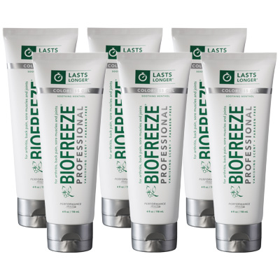 Biofreeze Professional Pain Relieving Gel, Colorless Tube - 4 oz - 6 Pack