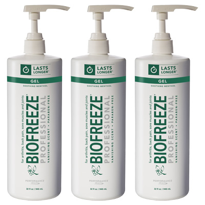 Biofreeze Professional Pain Relieving Gel, Green Pump - 32 oz - 3 Pack
