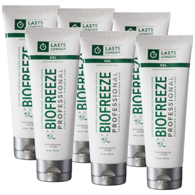 Biofreeze Professional Pain Relieving Gel, Green Tube - 4 oz - 6 Pack