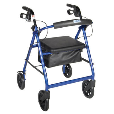 Drive Medical Blue Rollator Walker with Fold Up Removable Back Support Padded Seat r728bl
