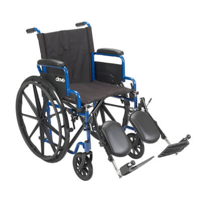 Drive Medical Blue Streak Wheelchair with Flip Back Desk Arms and Elevating Leg Rests bls20fbd-elr