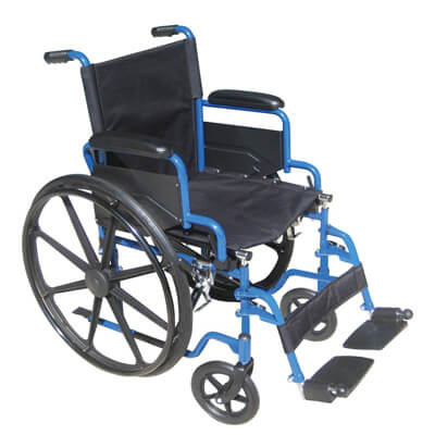 Drive Medical Blue Streak Wheelchair with Flip Back Desk Arms and Swing Away Footrest bls20fbd-sf