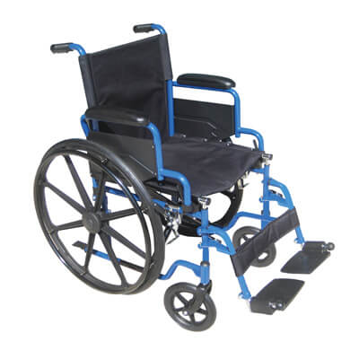 Drive Medical Blue Streak Wheelchair with Flip Back Desk Arms and Swing Away Footrest bls18fbd-sf