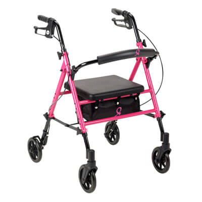 Drive Medical Breast Cancer Awareness Adjustable Height Pink Rollator rtl10261bc