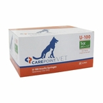 CarePoint Vet U-100 Insulin Syringes - 28 G 1 cc 1/2 in