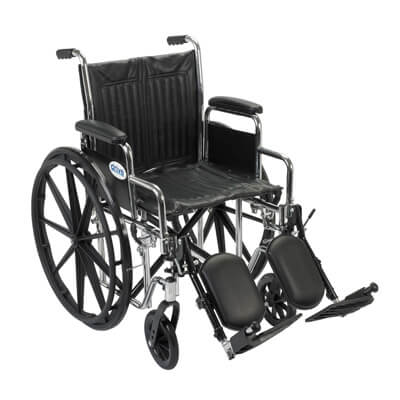 Drive Medical Chrome Sport Wheelchair with Detachable Desk Arms and Elevating Leg Rest cs18dda-elr