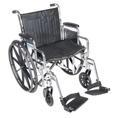 Drive Medical Chrome Sport Wheelchair with Detachable Desk Arms and Swing Away Footrest cs18dda-sf
