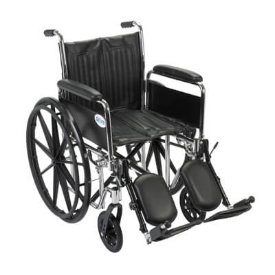 Drive Medical Chrome Sport Wheelchair with Detachable Full Arms and Elevating Leg Rest cs18dfa-elr