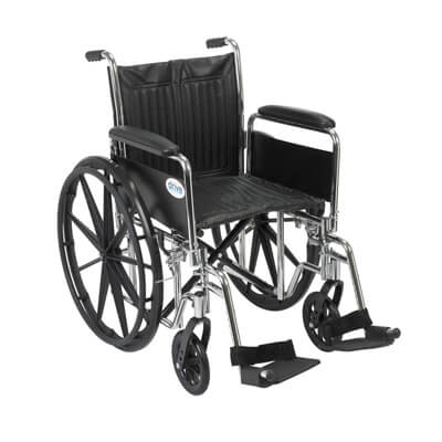 Drive Medical Chrome Sport Wheelchair with Detachable Full Arms and Swing Away Footrest cs18dfa-sf