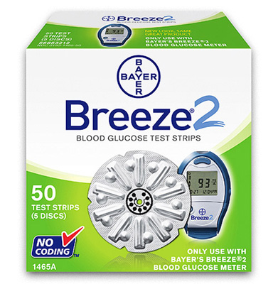 Clearance Bayer Breeze 2 Disc Test Strips - 50 Strips Expires 1/2017