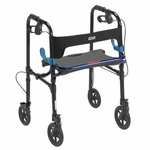 Drive Medical Clever Lite Flame Blue Rollator Walker with 8 inch Casters 10243