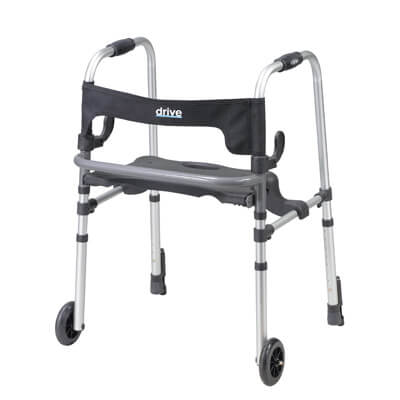 Drive Medical Clever Lite LS Rollator Walker with Seat and Push Down Brakes 10233