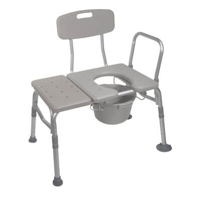 Drive Medical Combination Plastic Transfer Bench with Commode Opening 12011kdc-1