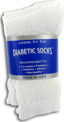 Creswell Diabetic Socks White Size 9-11 - 3 Pack