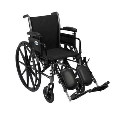 Drive Medical Cruiser III Light Weight Wheelchair with Flip Back Removable Adjustable Desk Arms and Elevating Leg Rest k320adda-elr