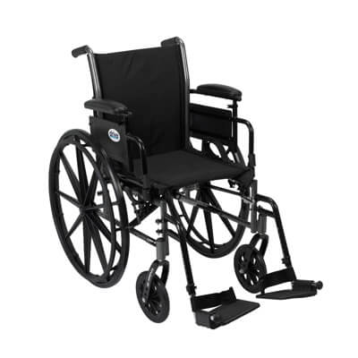 Drive Medical Cruiser III Light Weight Wheelchair with Flip Back Removable Adjustable Desk Arms and Swing Away Footrest k318adda-sf