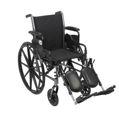 Drive Medical Cruiser III Light Weight Wheelchair with Flip Back Removable Desk Arms and Elevating Leg Rest k320dda-elr