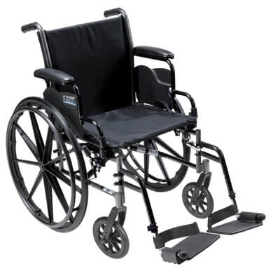 Drive Medical Cruiser III Light Weight Wheelchair with Flip Back Removable Desk Arms and Swing Away Footrest k316dda-sf