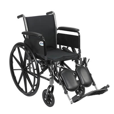 Drive Medical Cruiser III Light Weight Wheelchair with Flip Back Removable Full Arms and Elevating Leg Rest k320dfa-elr