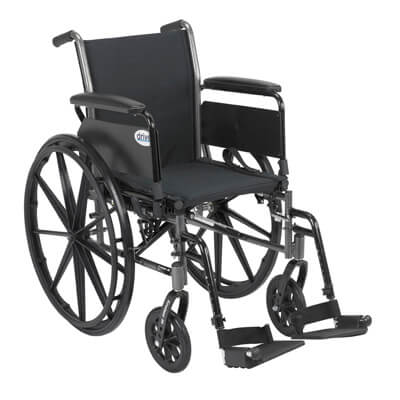 Drive Medical Cruiser III Light Weight Wheelchair with Flip Back Removable Full Arms and Swing Away Footrest k318dfa-sf