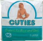 Cuties Baby Diapers, X-Large 30Lbs+ - 96 cs (6x16ea)