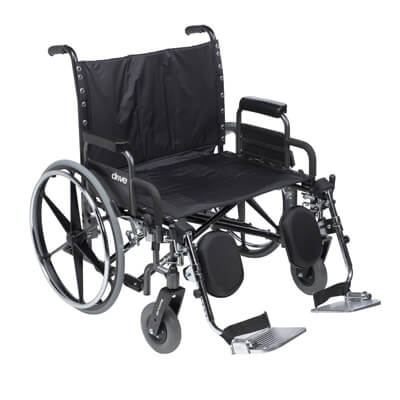 Drive Medical Deluxe Sentra Heavy Duty Extra Extra Wide Wheelchair With Detachable Desk Arm and Elevating Leg Rests, 28 in Seat