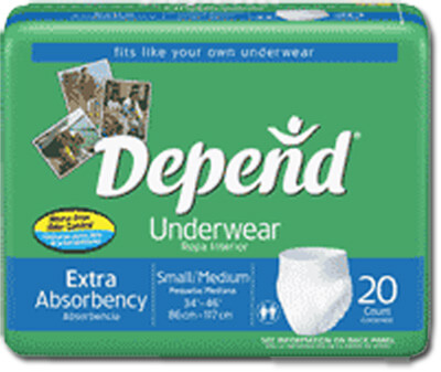 "Depend Extra Absorbency Underwear, Small/Medium, Waist 28-40"" - 80 case (4x20 ea)"