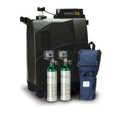 DeVilbiss Healthcare iFill Personal Oxygen Station, Carrying Case, 2 M6 PD1000 Cylinders 535d-m6-pd-pkg