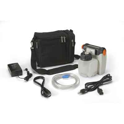 DeVilbiss Healthcare Vacu-Aide Compact Suction Unit with 725cc Reusable Bottle and Carrying Case 7310pr-d
