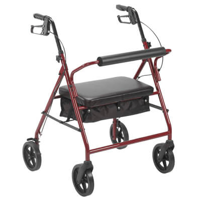 Drive Medical Bariatric Rollator with 8 in Wheels Red - Model 10216RD-1