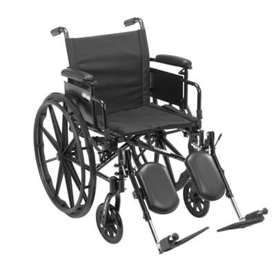 Drive Medical Cruiser X4 Wheelchair with Desk Arms, Elevating Leg Rests, 20 in Seat - Model cx420adda-elr