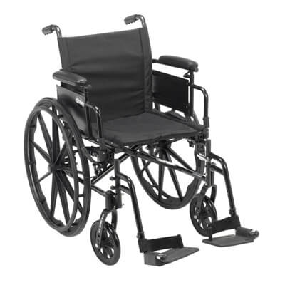 Drive Medical Cruiser X4 Wheelchair with Desk Arms, Swing Away Footrests, 20 in Seat - Model cx420adda-sf