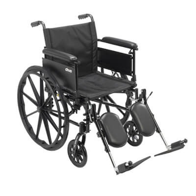 Drive Medical Cruiser X4 Wheelchair with Full Arms, Elevating Leg Rests, 18 in Seat - Model cx418adfa-elr