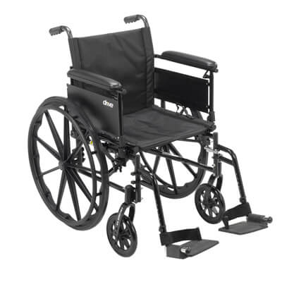 Drive Medical Cruiser X4 Wheelchair with Full Arms, Swing Away Footrests, 20 in Seat - Model cx420adfa-sf